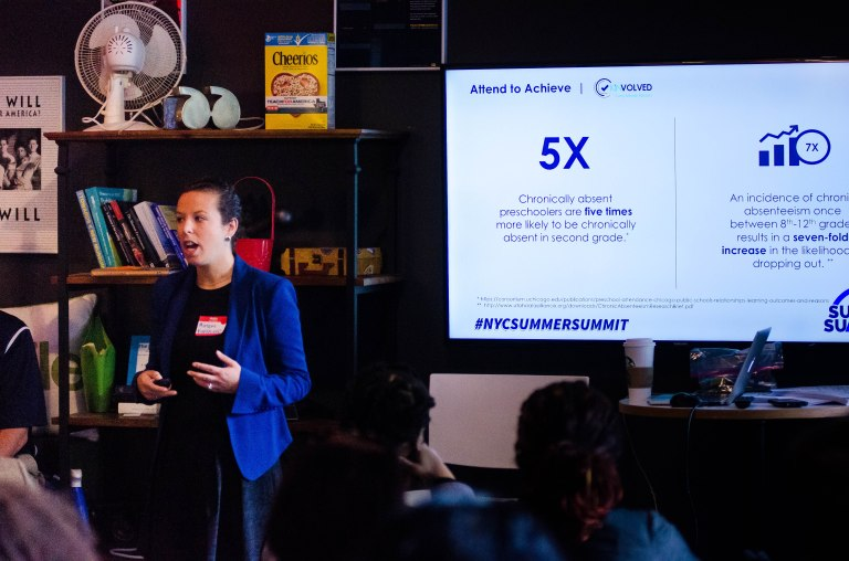 """Miriam Altman, Ceo of Kinvolved leads a breakout session title """"Attend to Achive"""" at Kinvolved's Summer Summit NYC"""